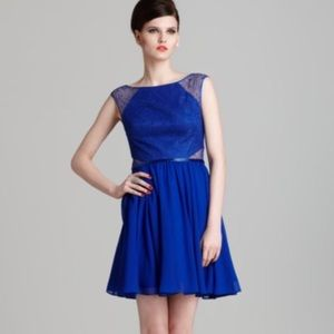 AQUA Cobalt Blue Lace A-line Dress